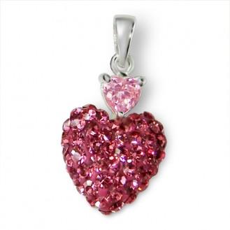 """Stříbrný přívěsek s krystaly """"Pohádkové srdce"""". Ag 925/1000"""